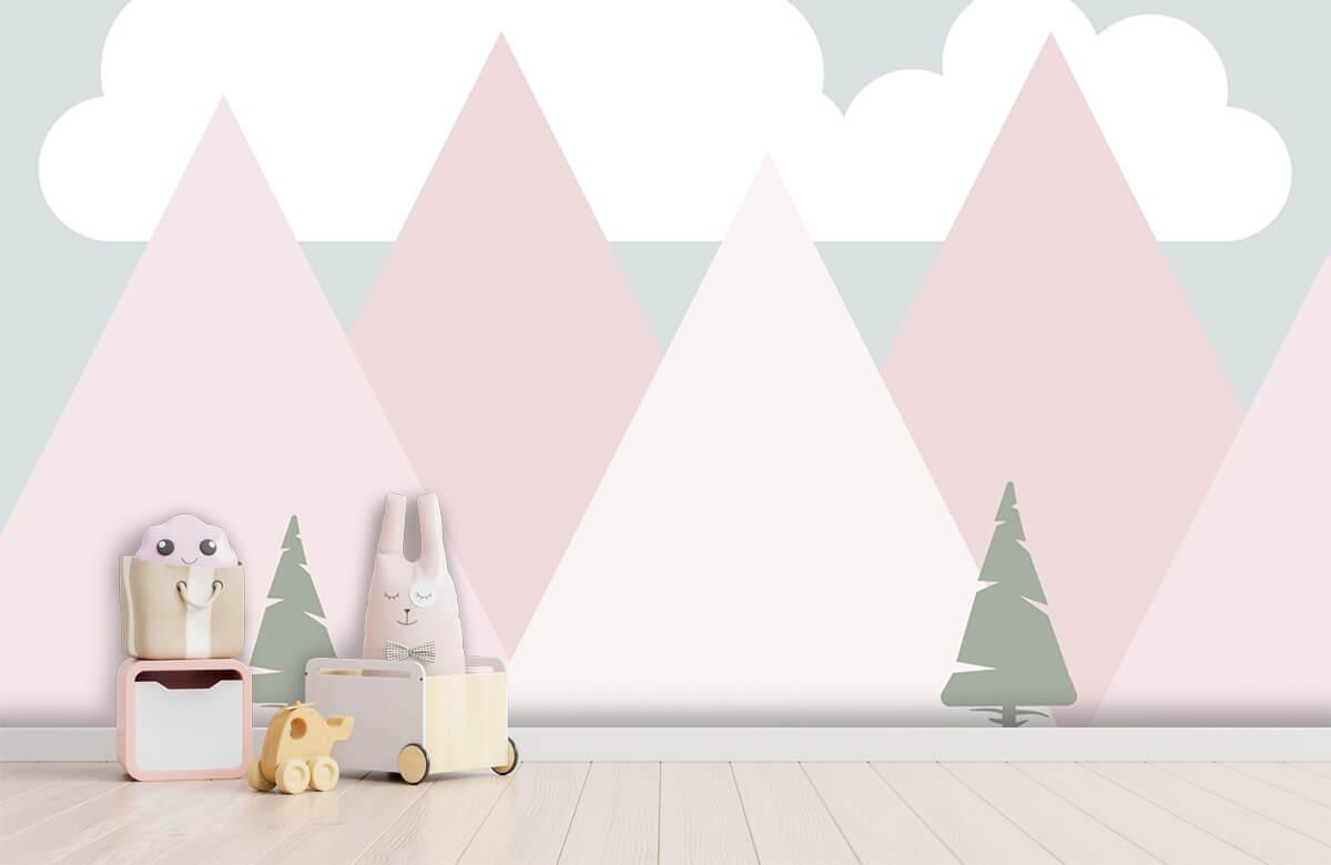Hip & Trendy Roze bergen met dennenbomen 3
