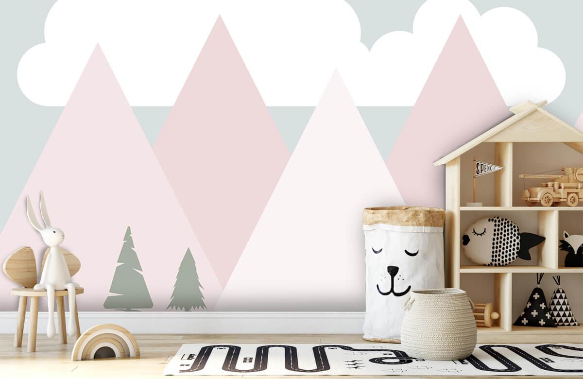 Hip & Trendy Roze bergen met dennenbomen 4