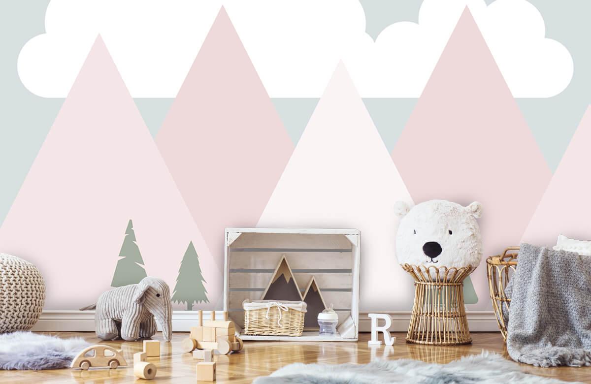 Hip & Trendy Roze bergen met dennenbomen 5