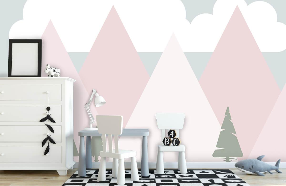 Hip & Trendy Roze bergen met dennenbomen 7