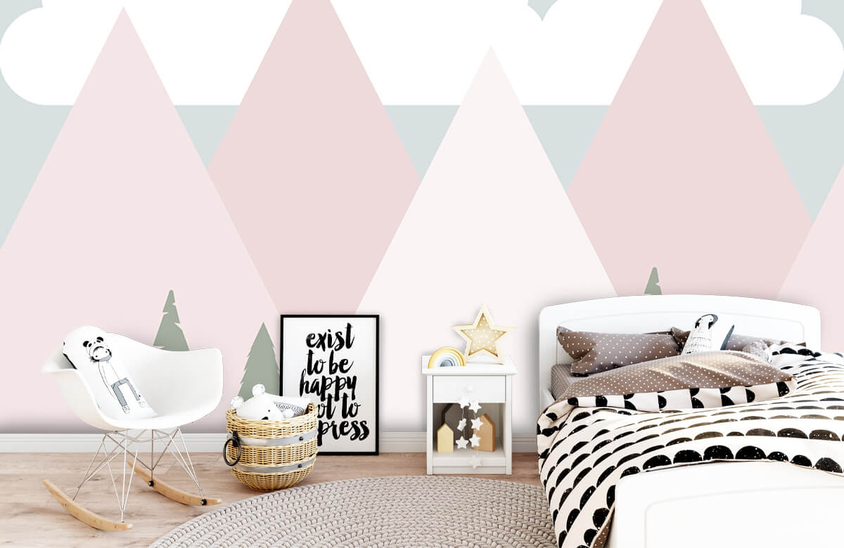 Hip & Trendy Roze bergen met dennenbomen 9