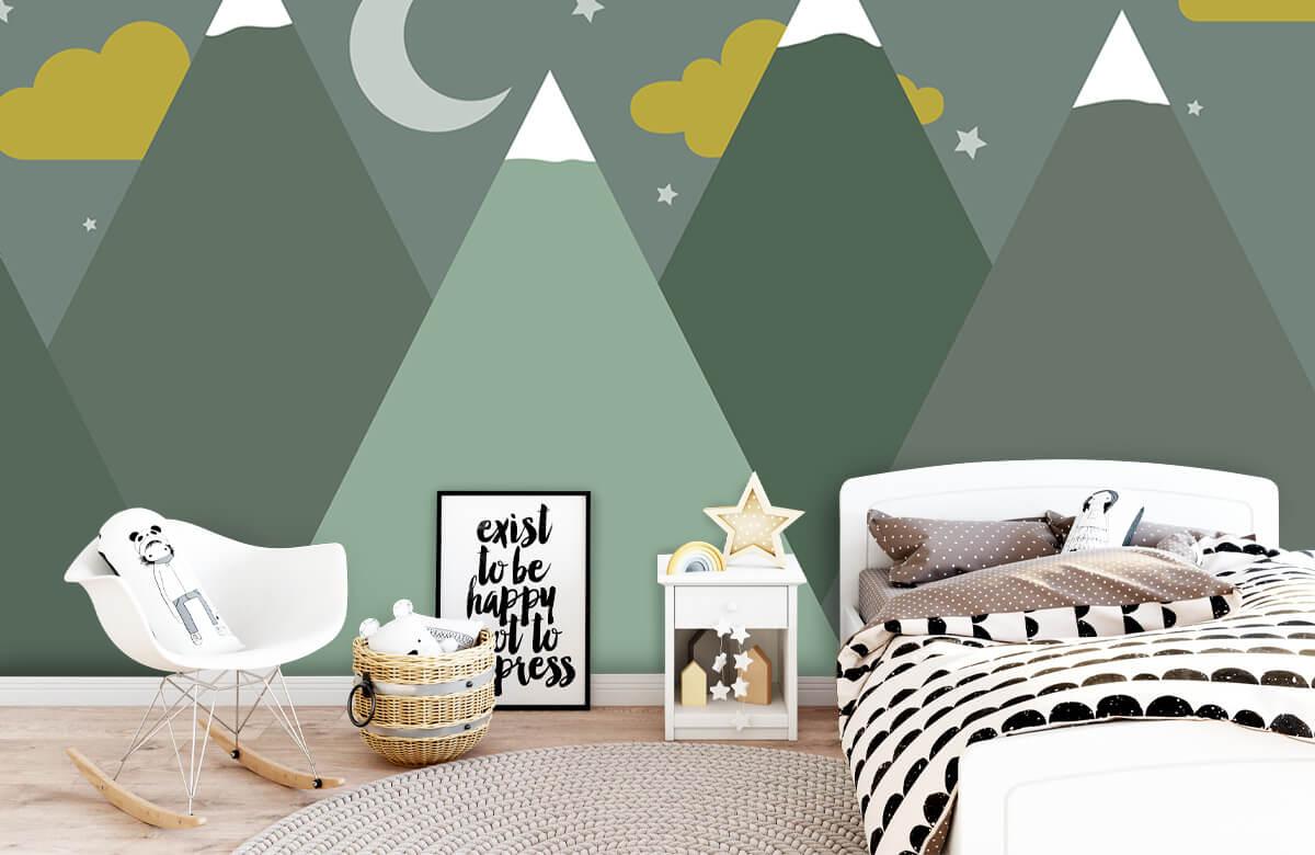 Hip & Trendy Groene bergen in de nacht 1