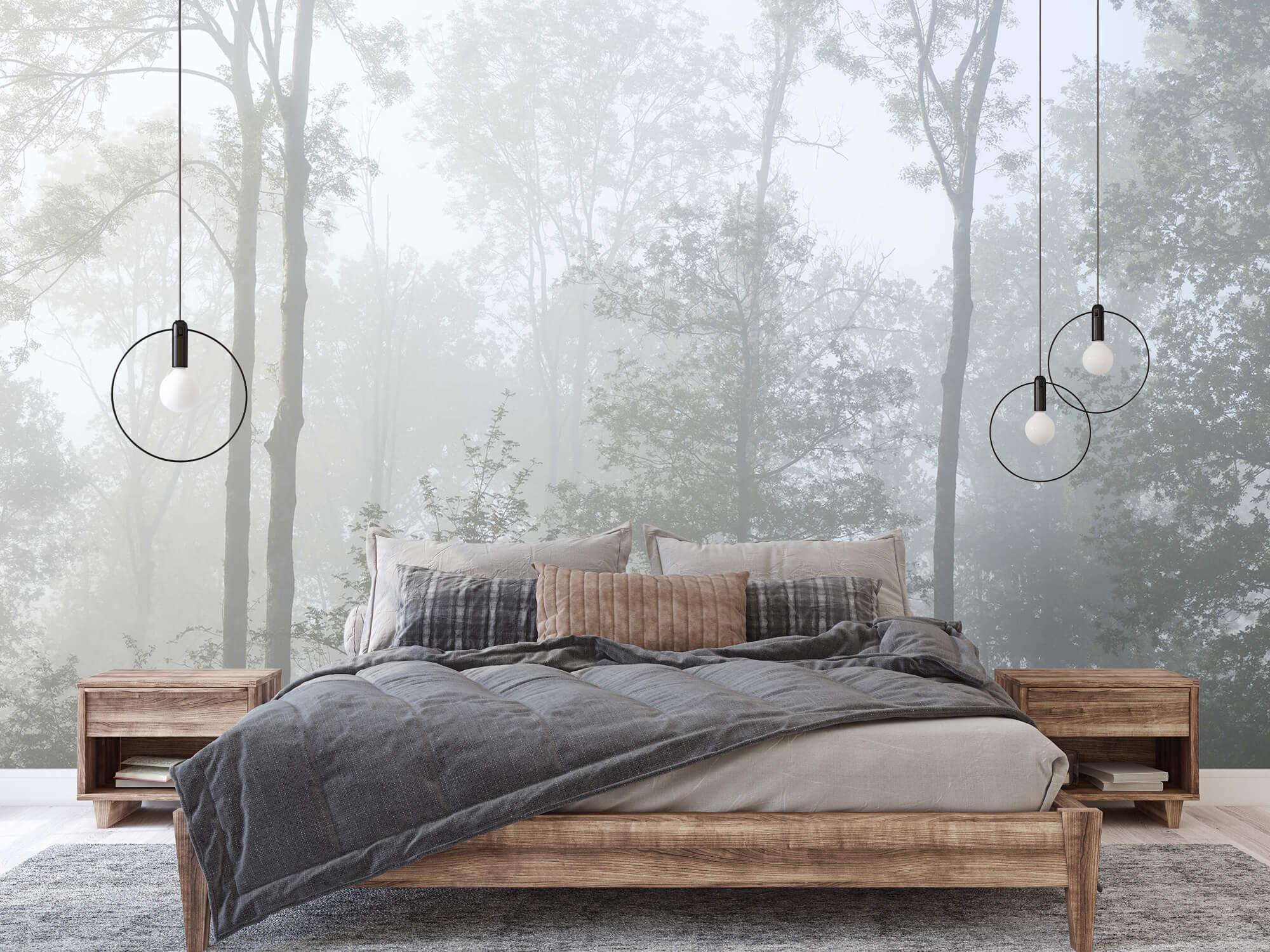 Bos behang Dichte mist in het bos 5