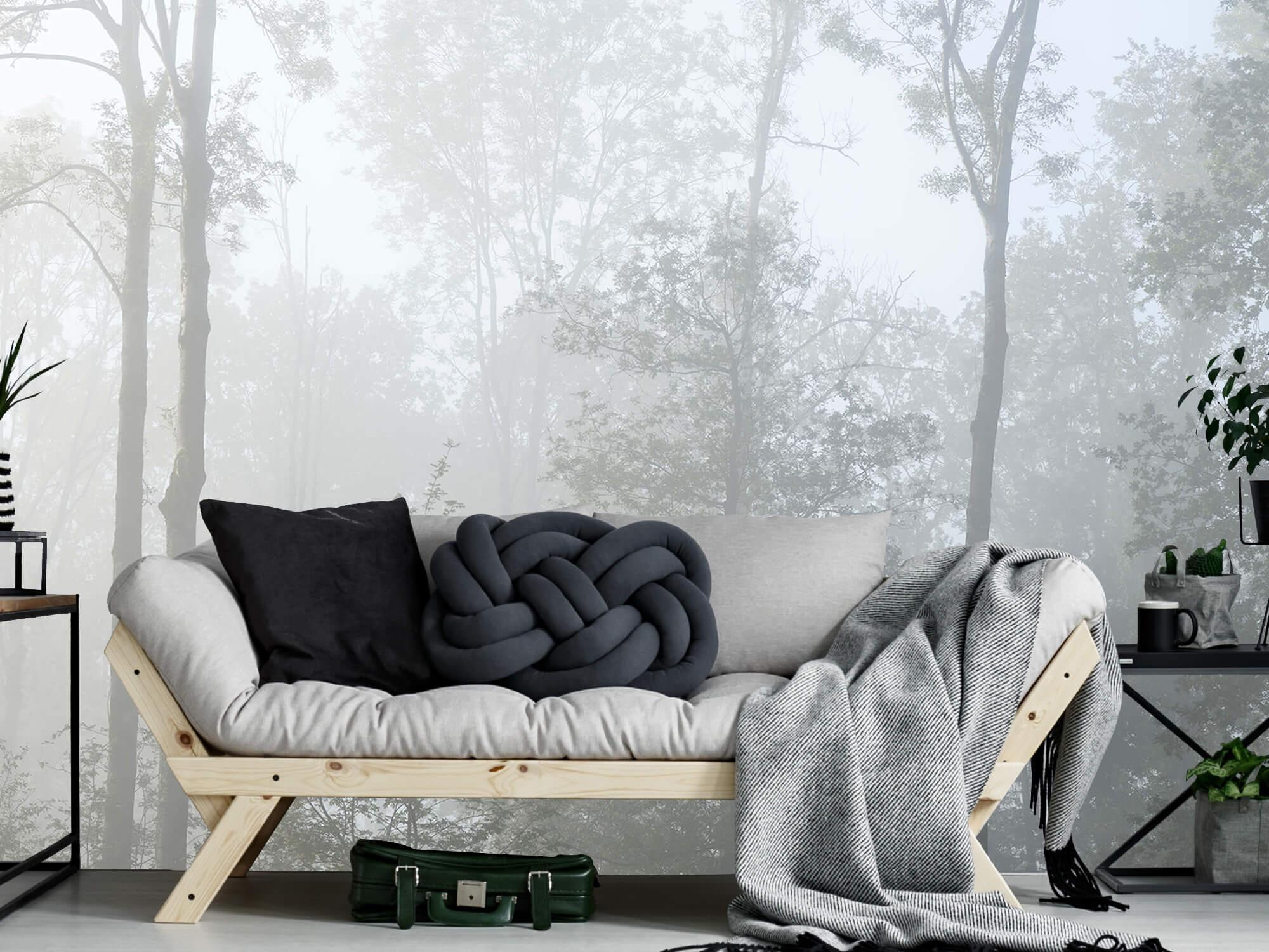 Bos behang Dichte mist in het bos 1