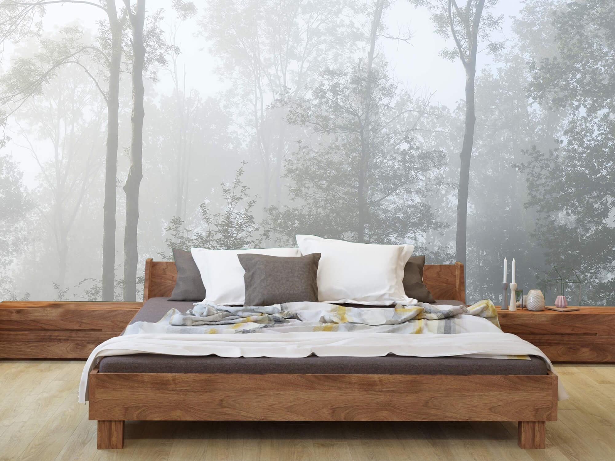 Bos behang Dichte mist in het bos 8