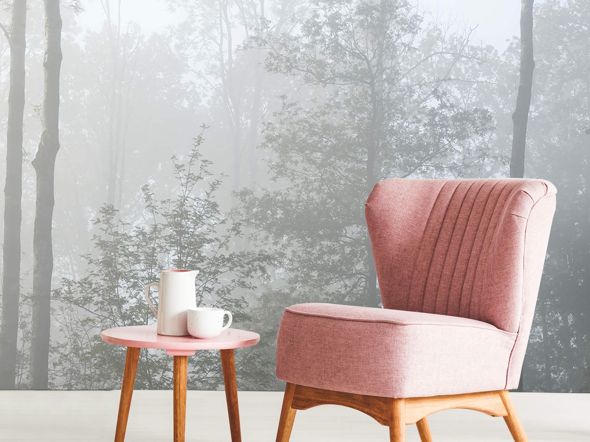 Bos behang Dichte mist in het bos 9