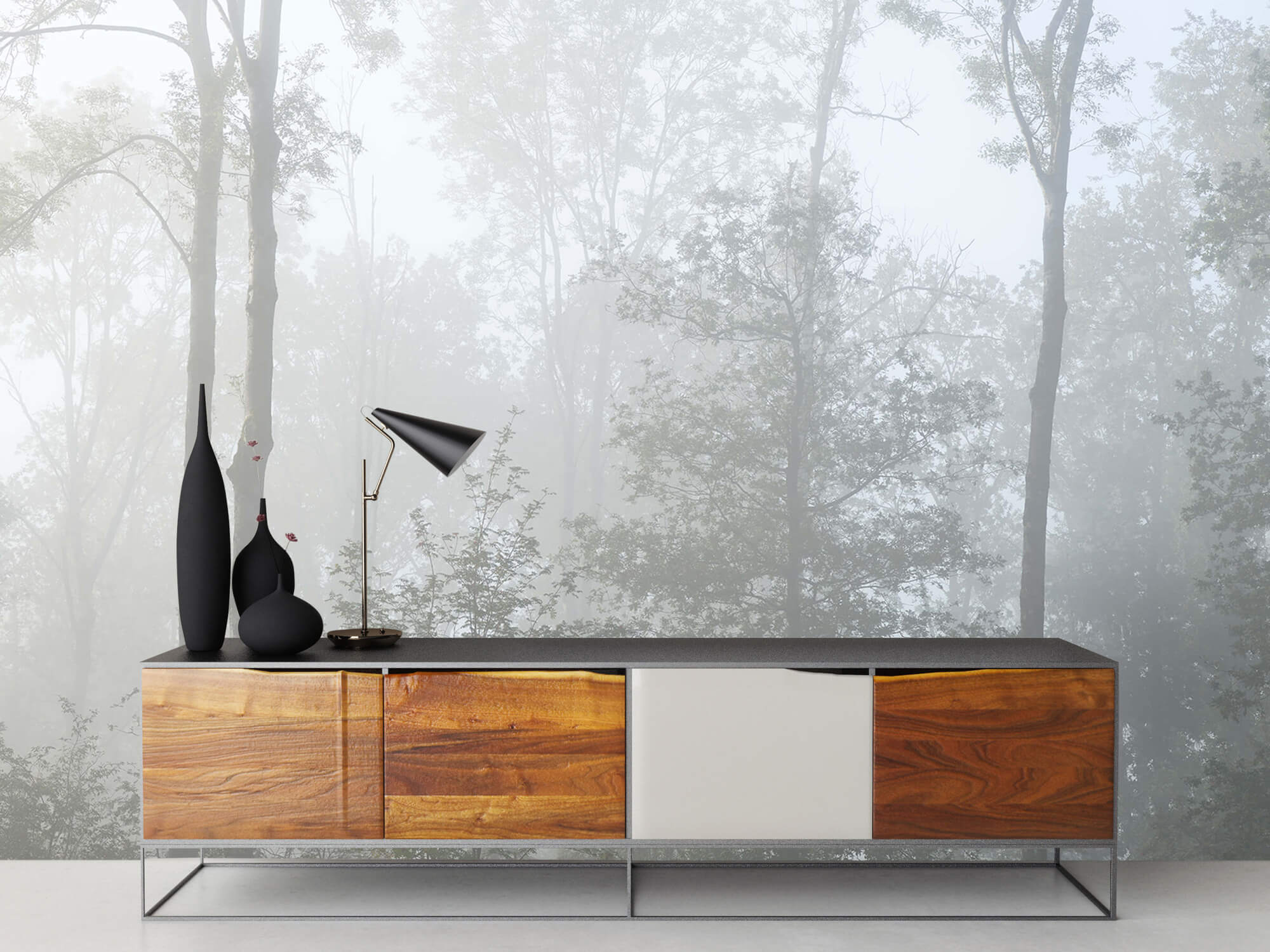 Bos behang Dichte mist in het bos 16
