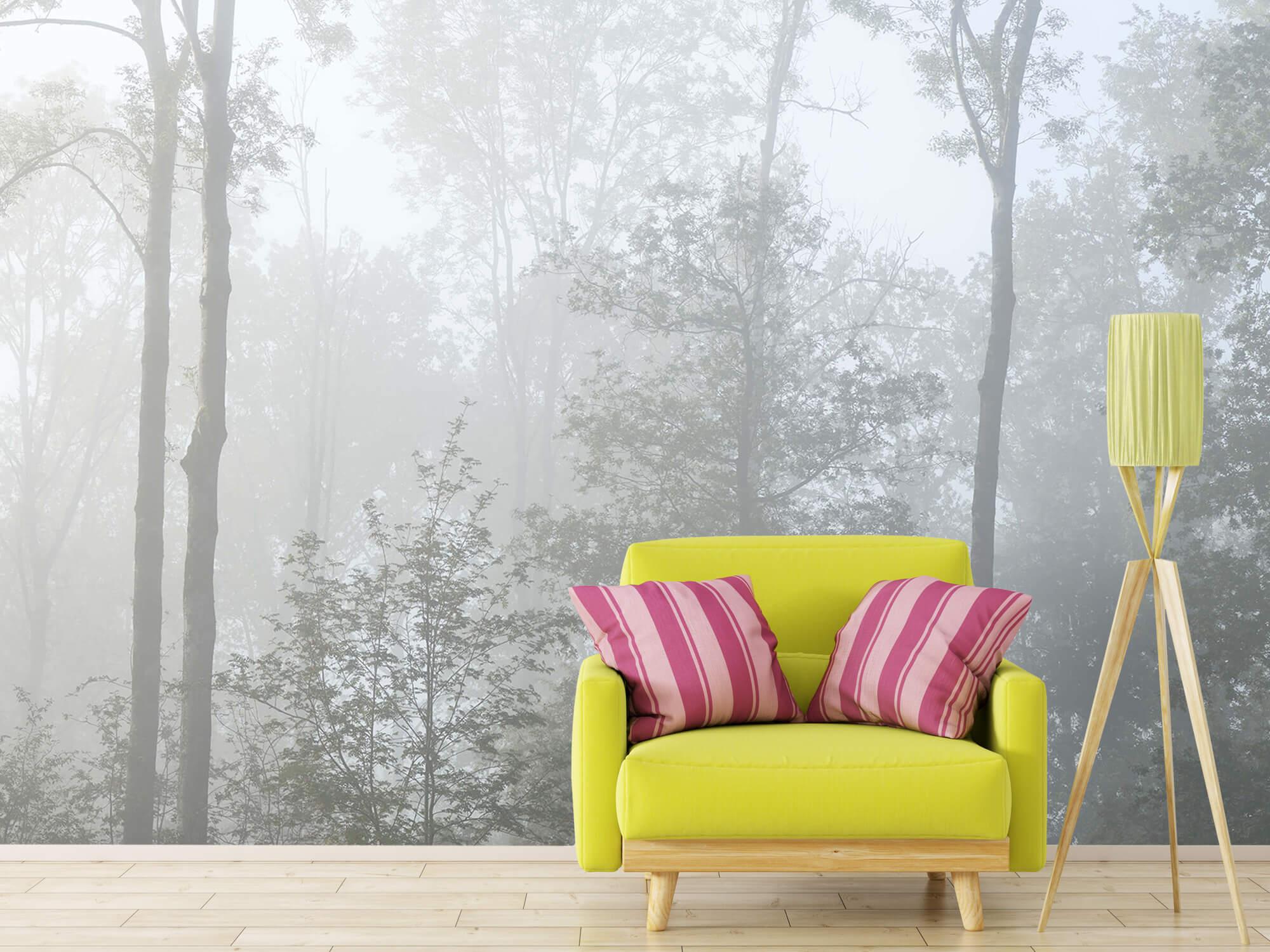 Bos behang Dichte mist in het bos 17