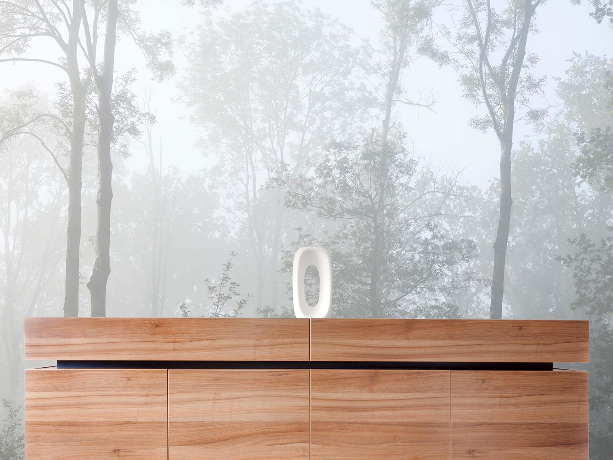 Bos behang Dichte mist in het bos 20