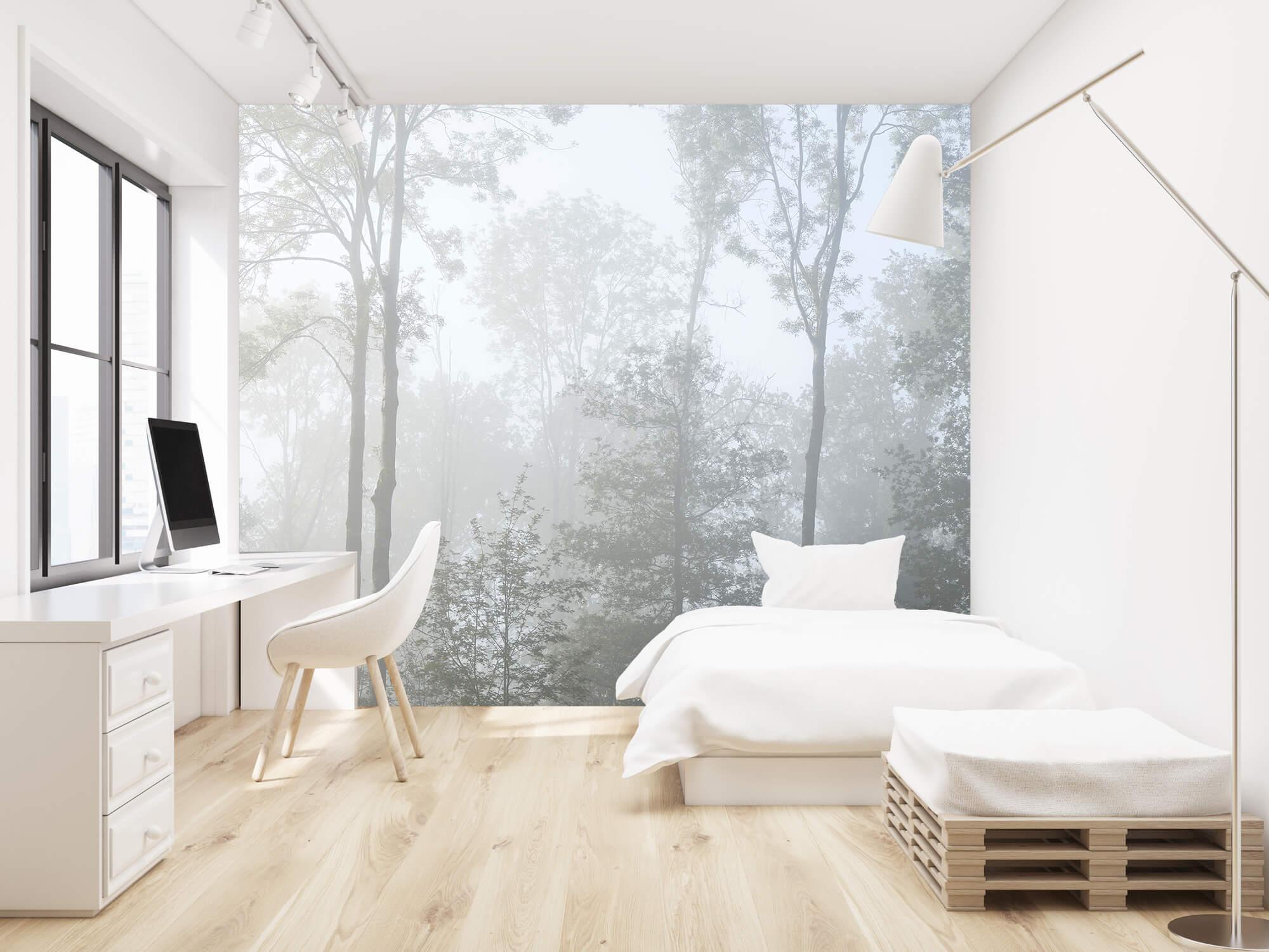 Bos behang Dichte mist in het bos 22