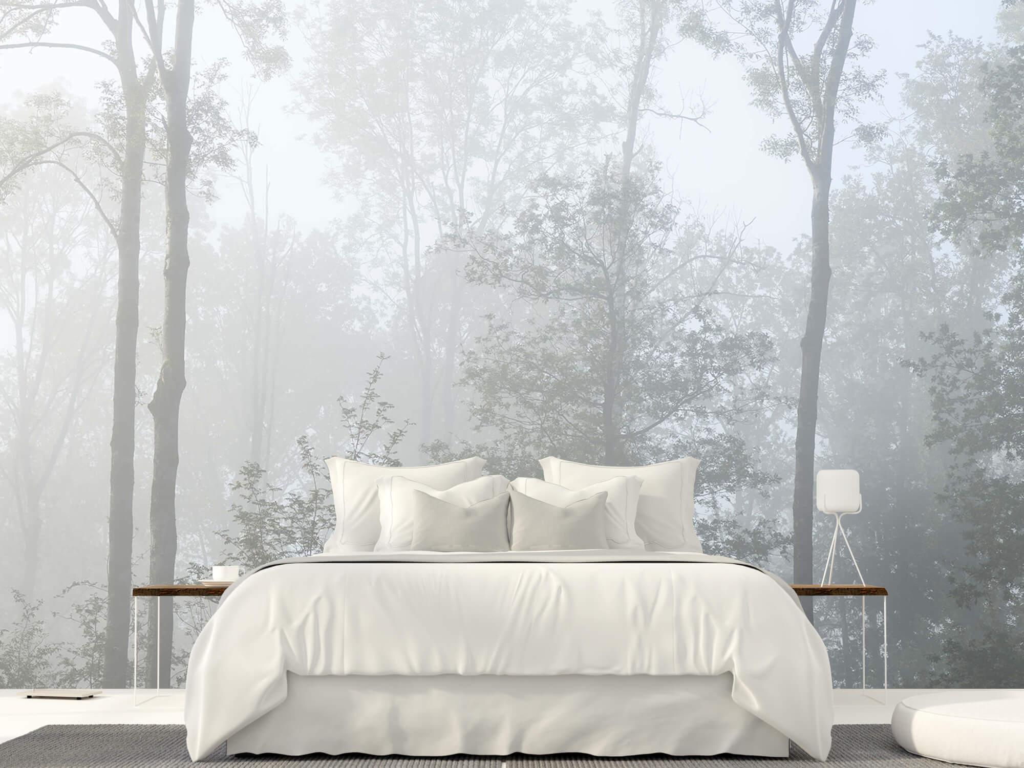 Bos behang Dichte mist in het bos 23