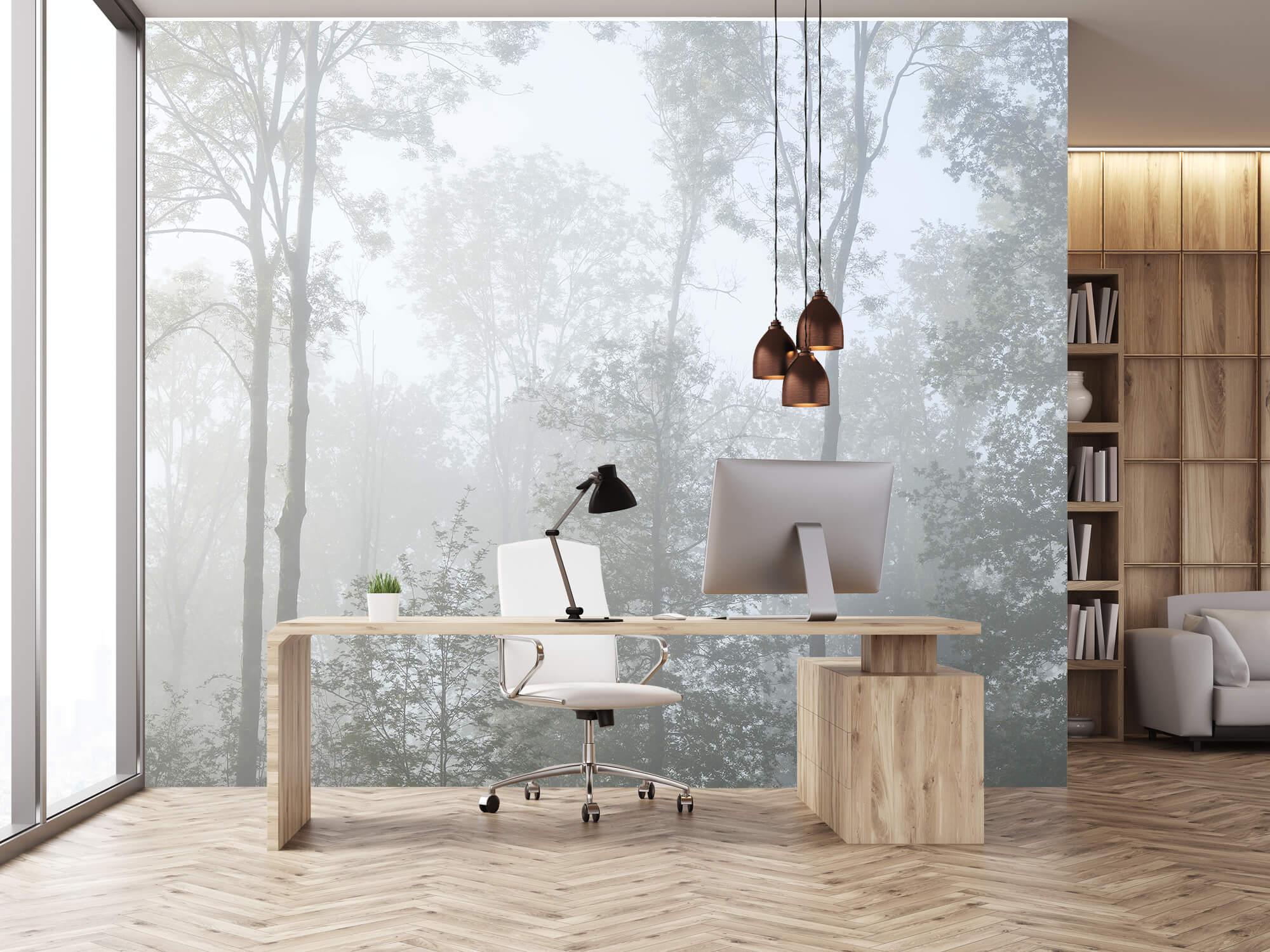 Bos behang Dichte mist in het bos 24