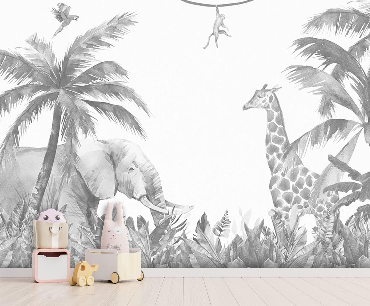 Jungle behang Vrolijke jungle dieren 4