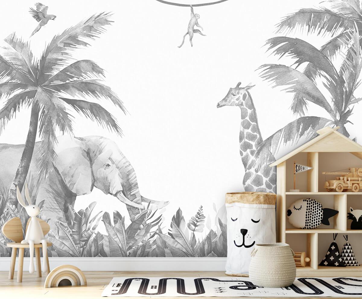 Jungle behang Vrolijke jungle dieren 1