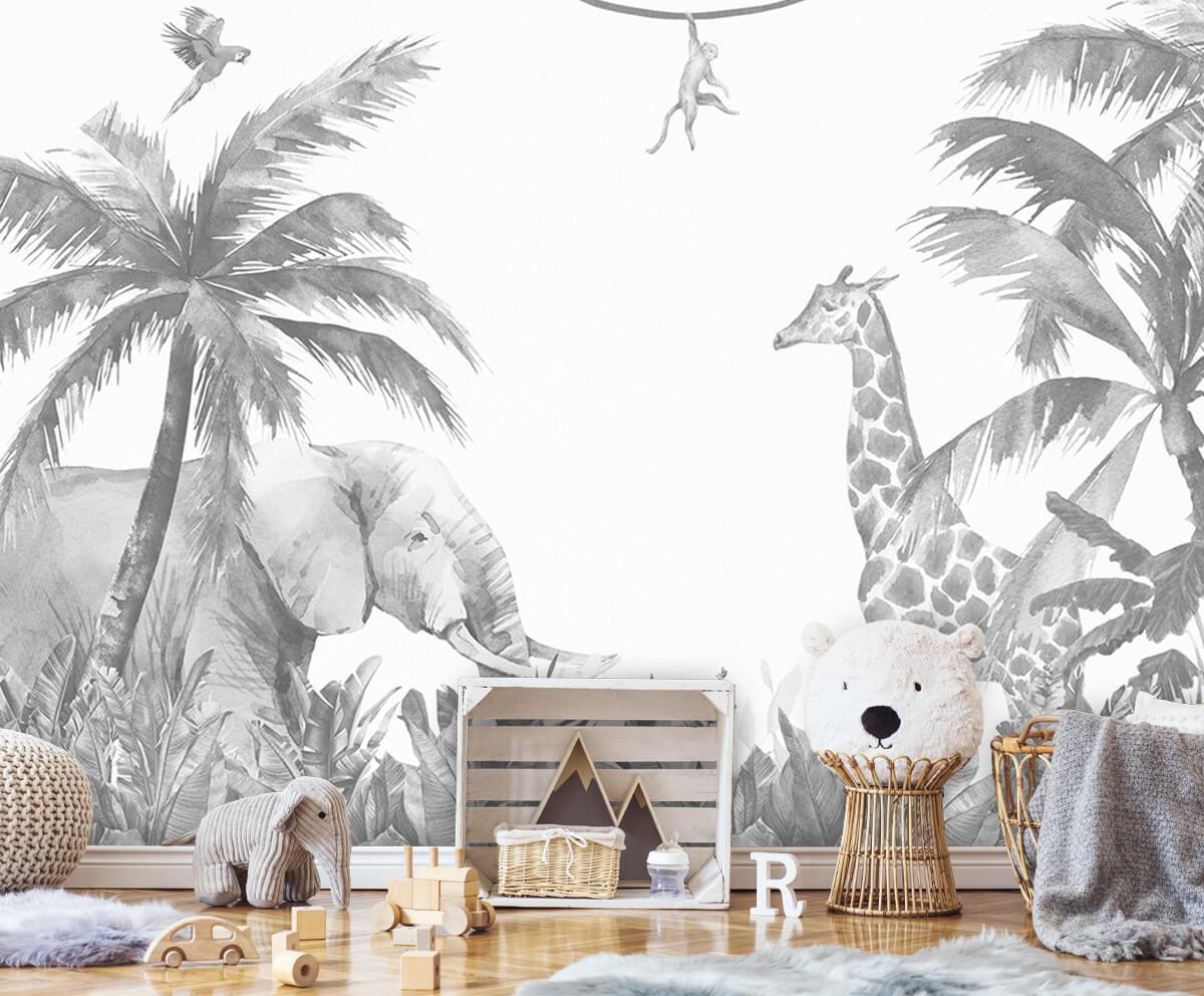 Jungle behang Vrolijke jungle dieren 5