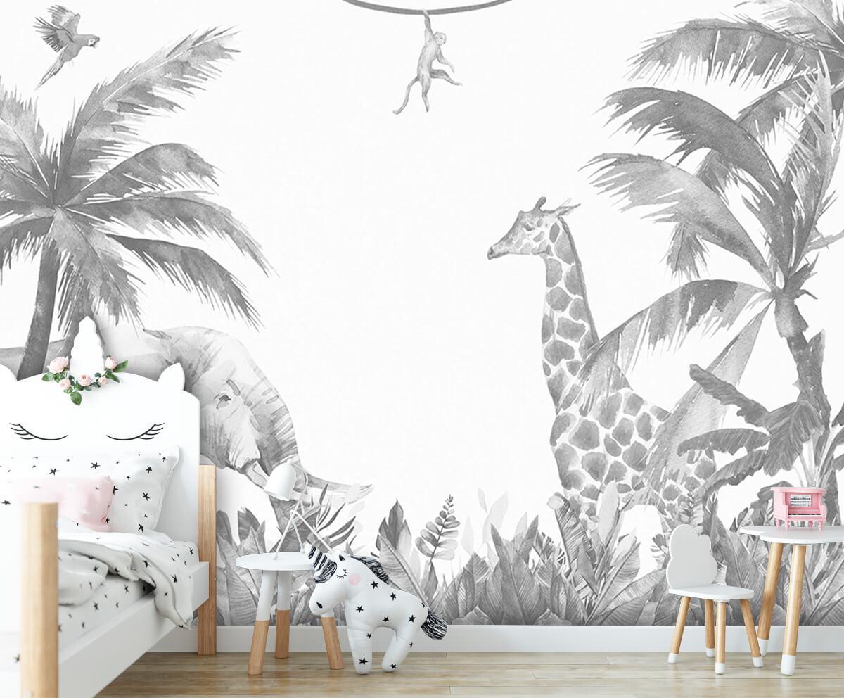 Jungle behang Vrolijke jungle dieren 8