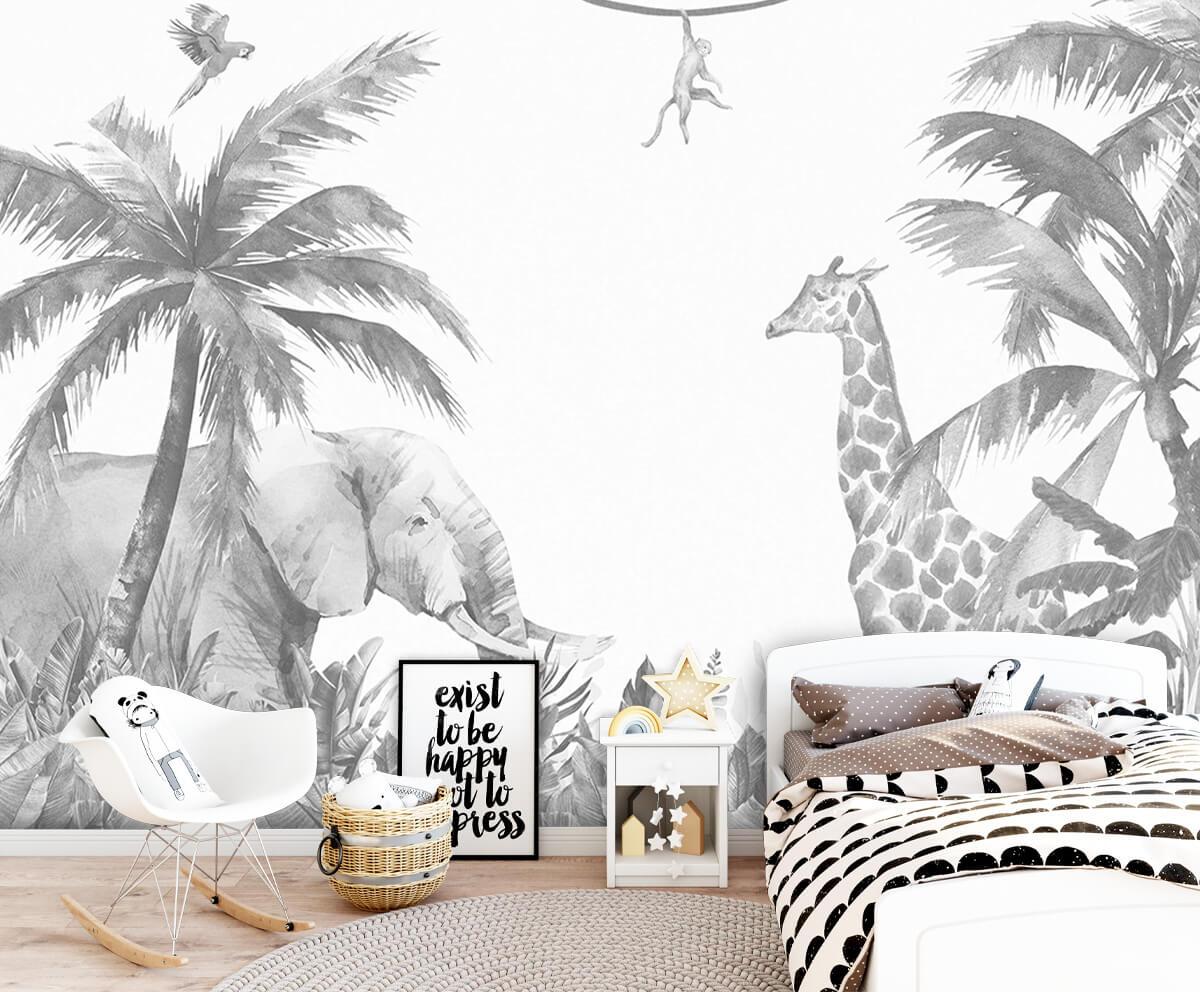 Jungle behang Vrolijke jungle dieren 9