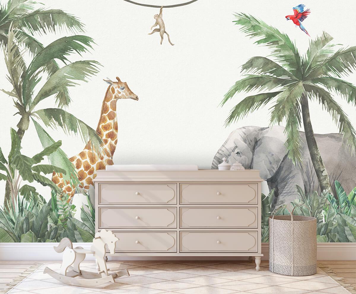Jungle behang Kleurrijke jungle dieren 1