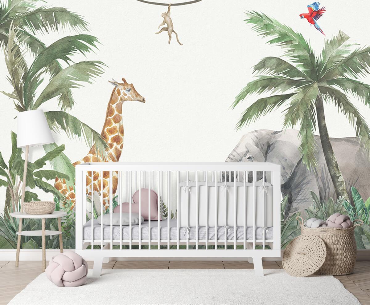 Jungle behang Kleurrijke jungle dieren 2