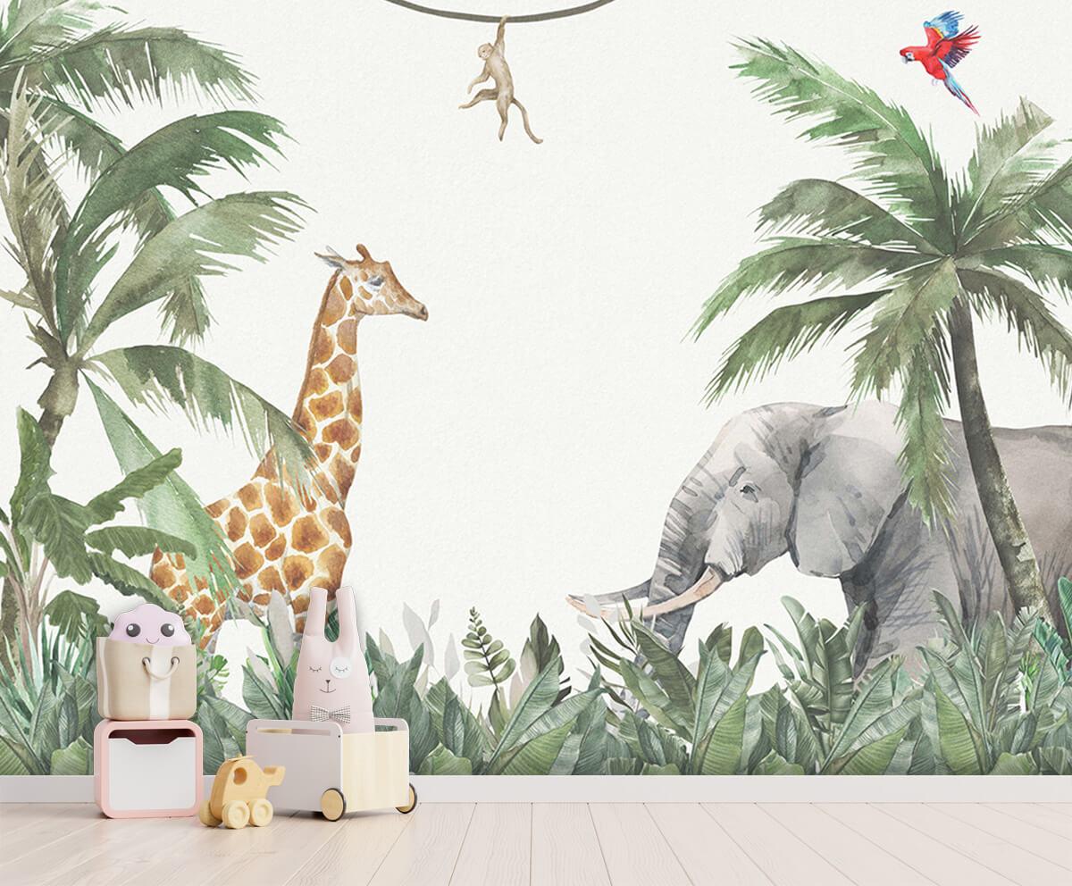 Jungle behang Kleurrijke jungle dieren 3