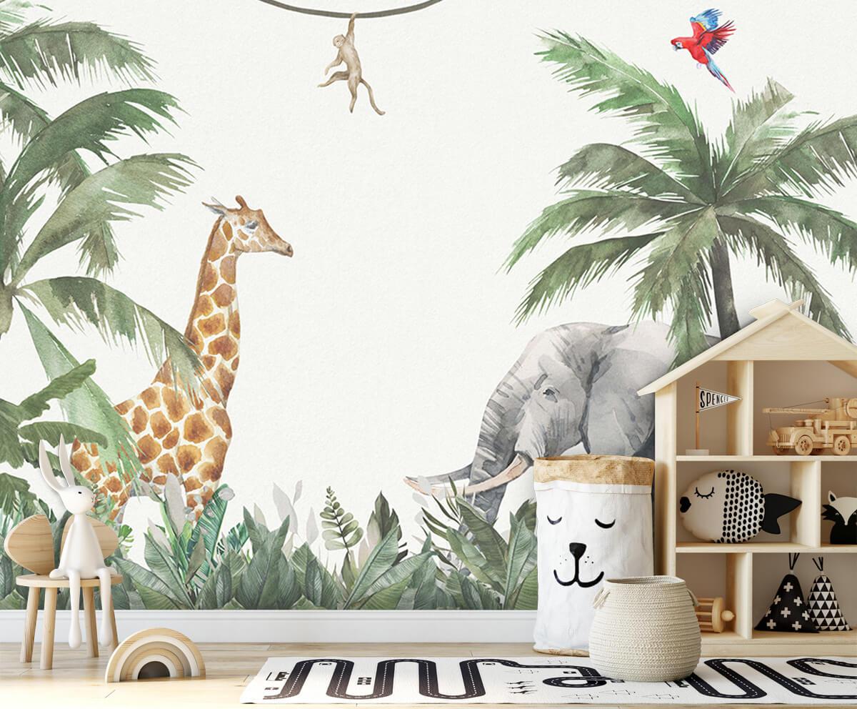 Jungle behang Kleurrijke jungle dieren 4