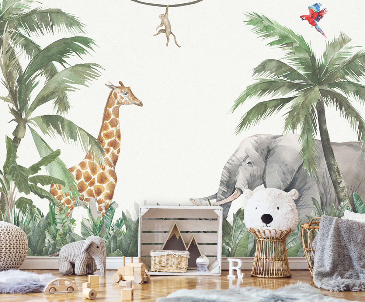 Jungle behang Kleurrijke jungle dieren 5