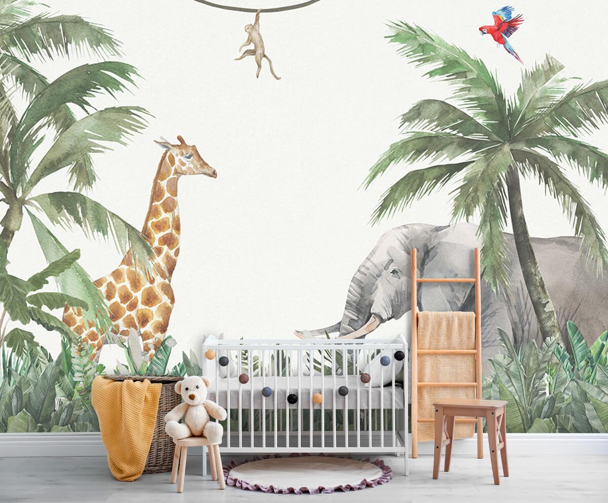Jungle behang Kleurrijke jungle dieren 6