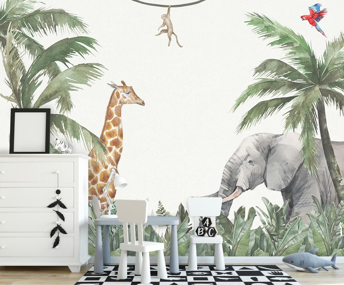Jungle behang Kleurrijke jungle dieren 7