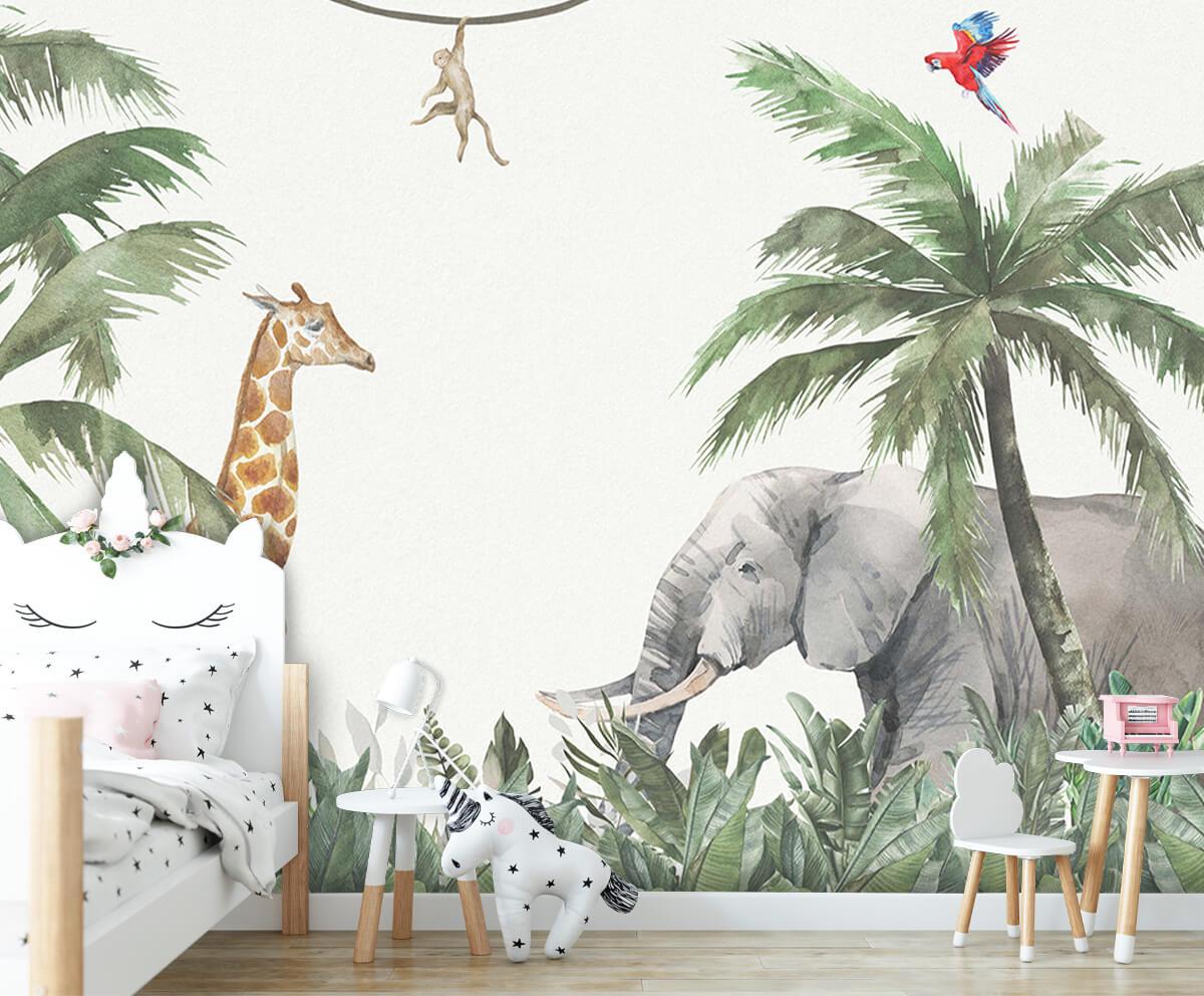 Jungle behang Kleurrijke jungle dieren 8