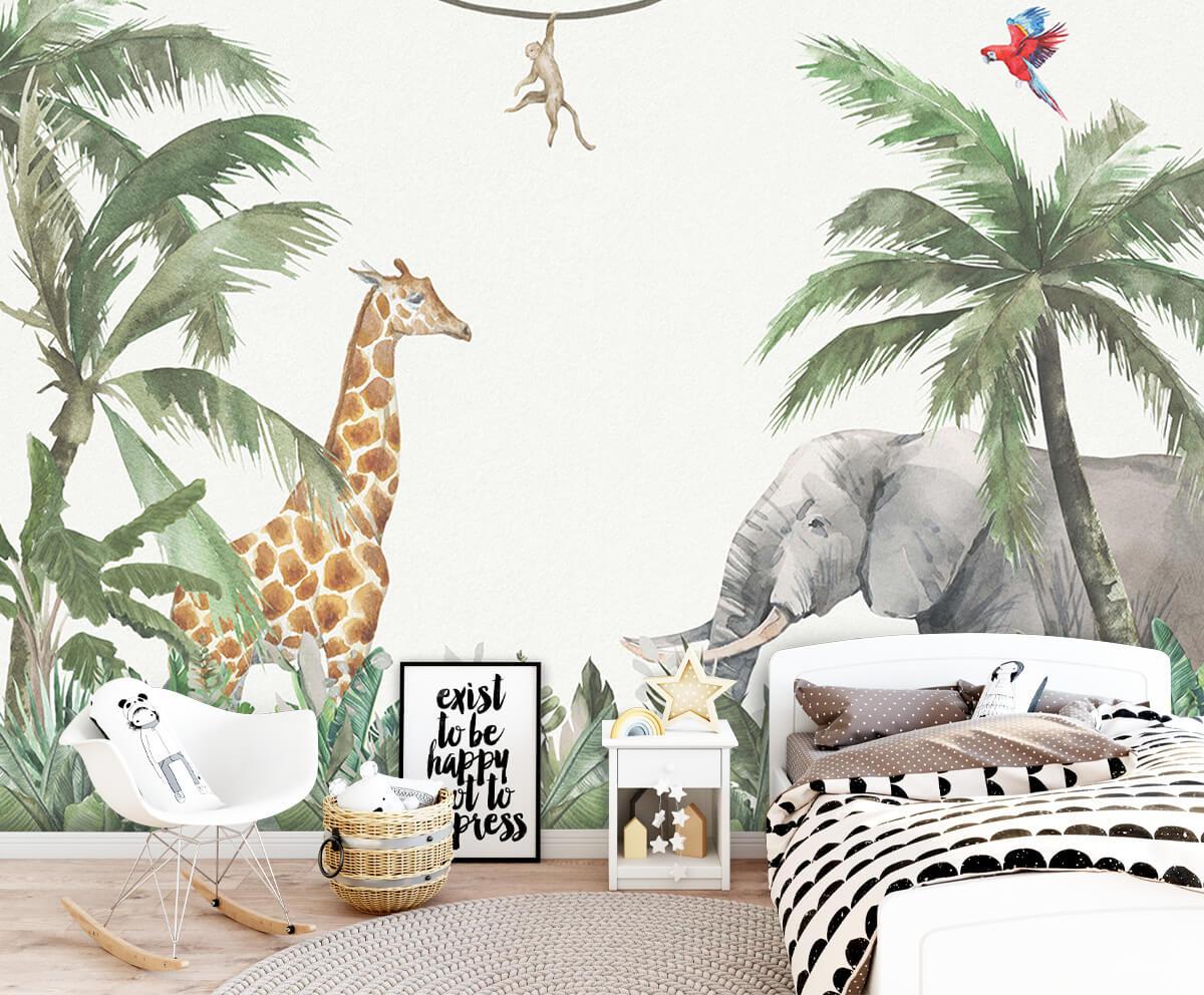 Jungle behang Kleurrijke jungle dieren 9