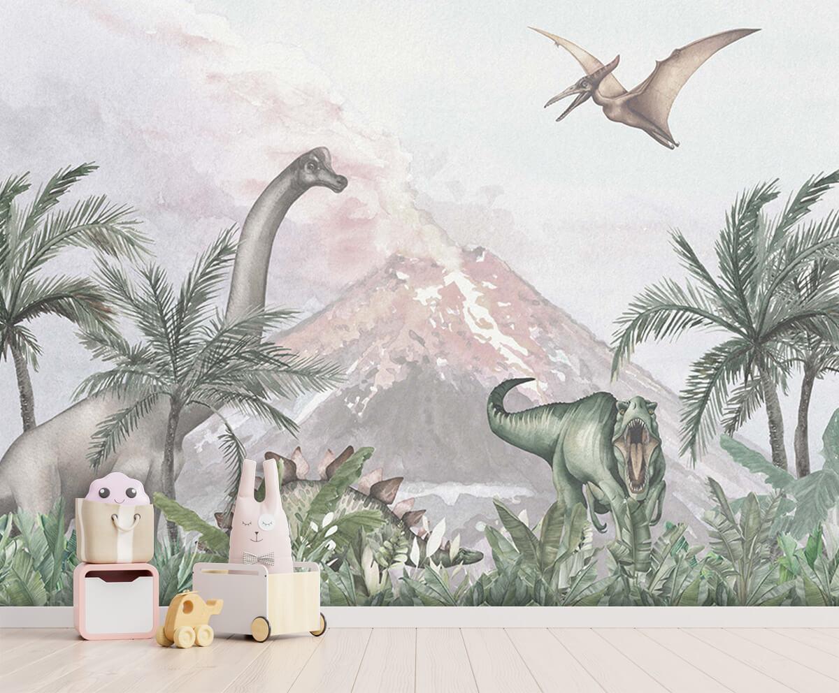 Dino behang Dino's bij een vulkaan 2