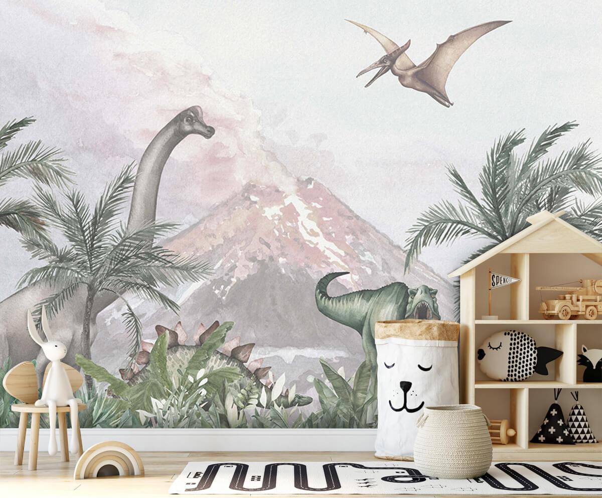 Dino behang Dino's bij een vulkaan 3