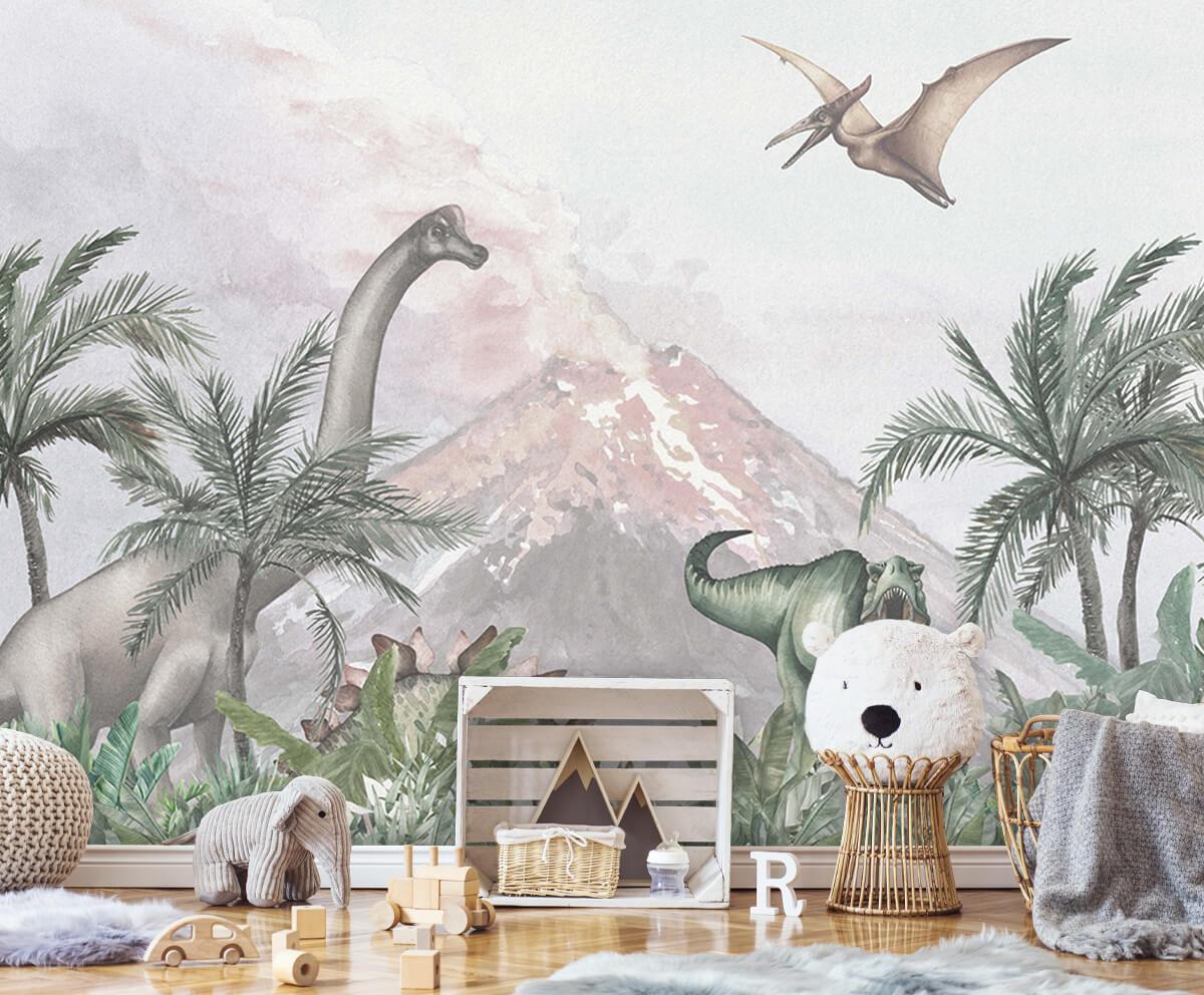 Dino behang Dino's bij een vulkaan 4