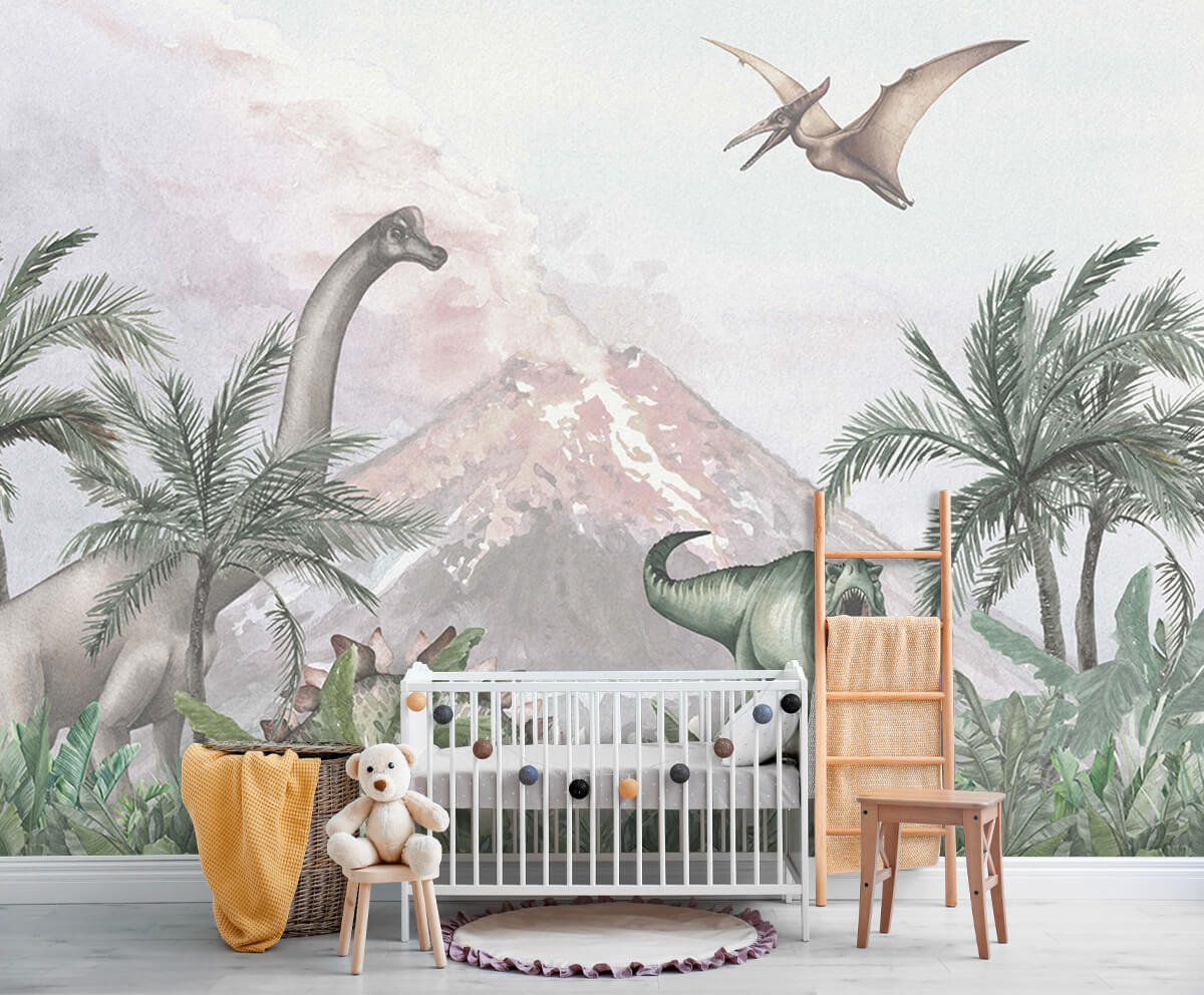Dino behang Dino's bij een vulkaan 5