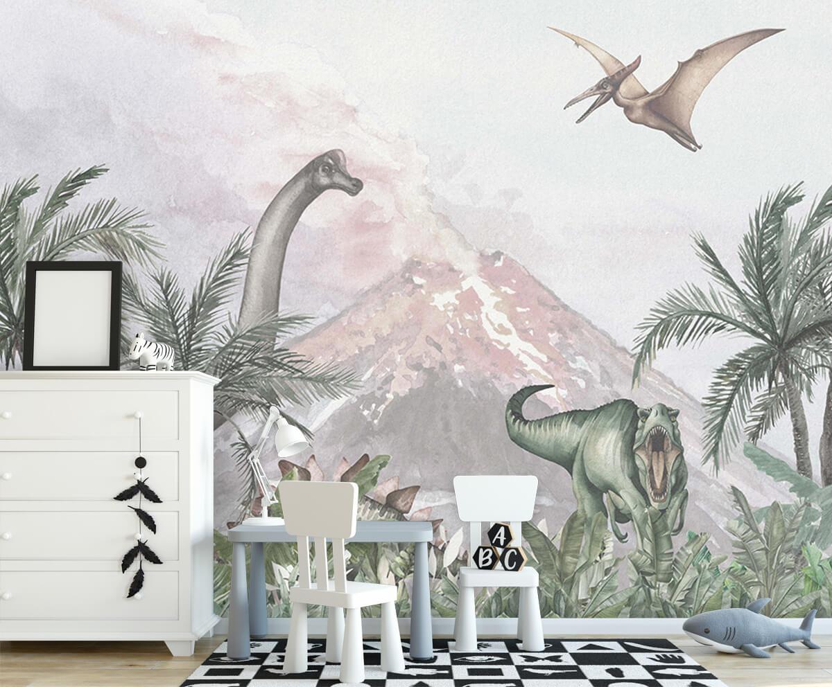 Dino behang Dino's bij een vulkaan 6