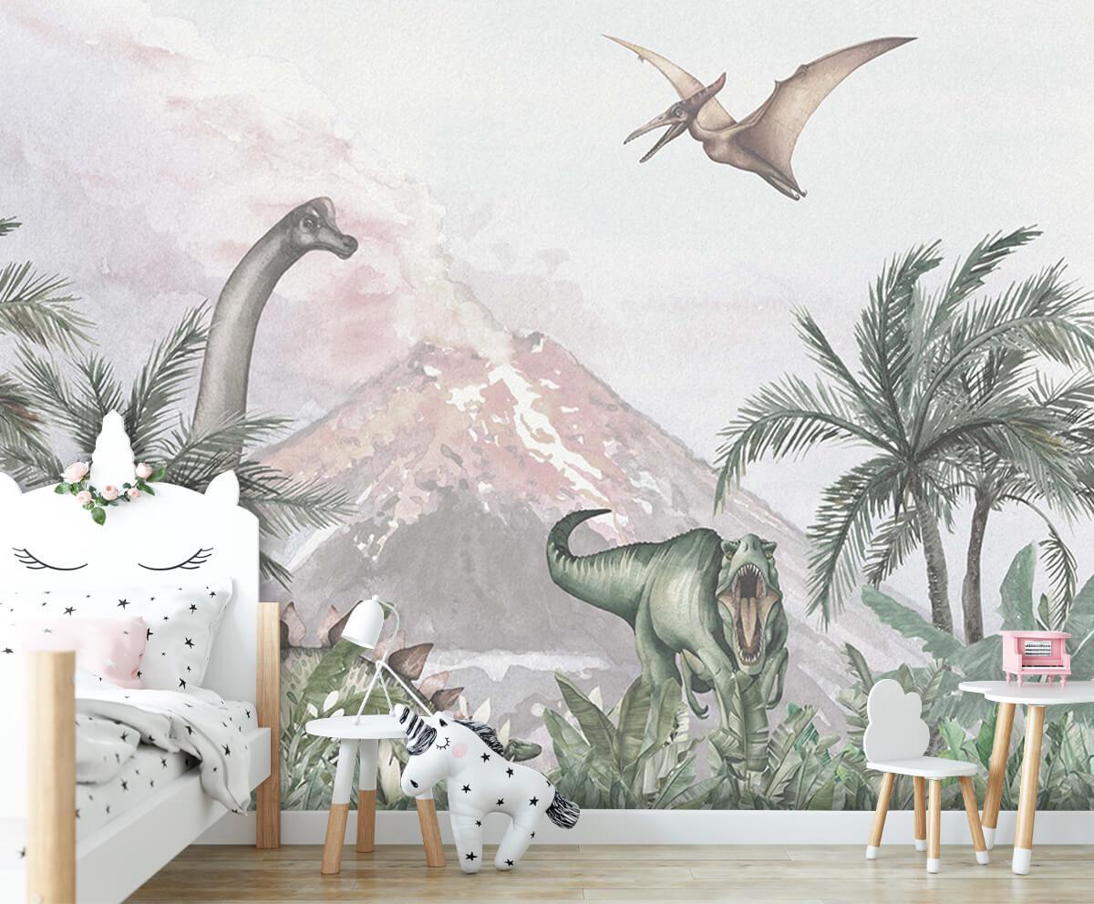Dino behang Dino's bij een vulkaan 7