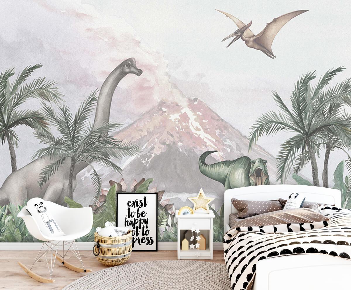 Dino behang Dino's bij een vulkaan 1