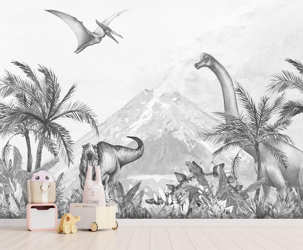 Dino behang Dino's in zwart-wit 2