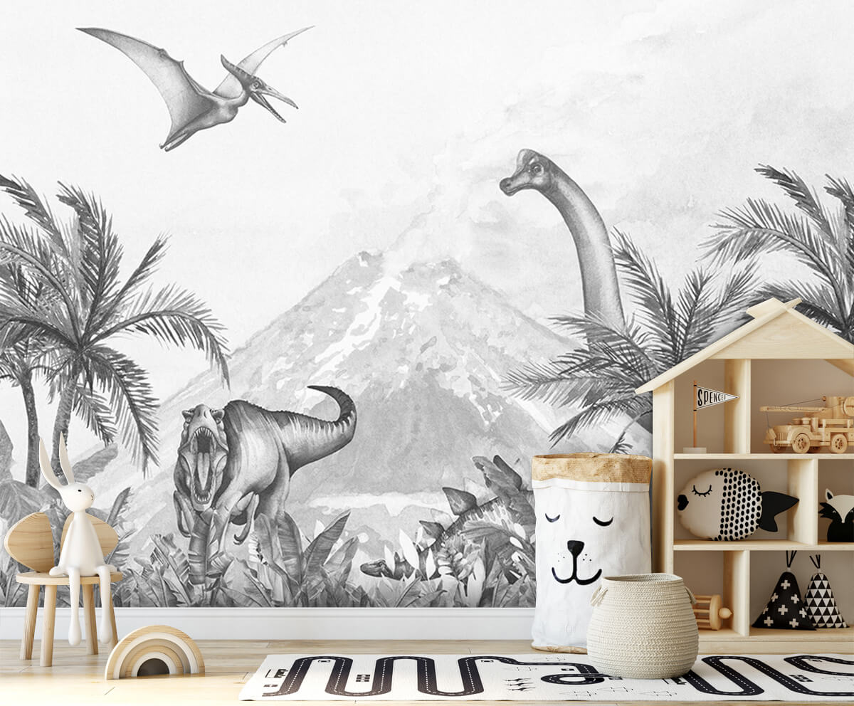 Dino behang Dino's in zwart-wit 3