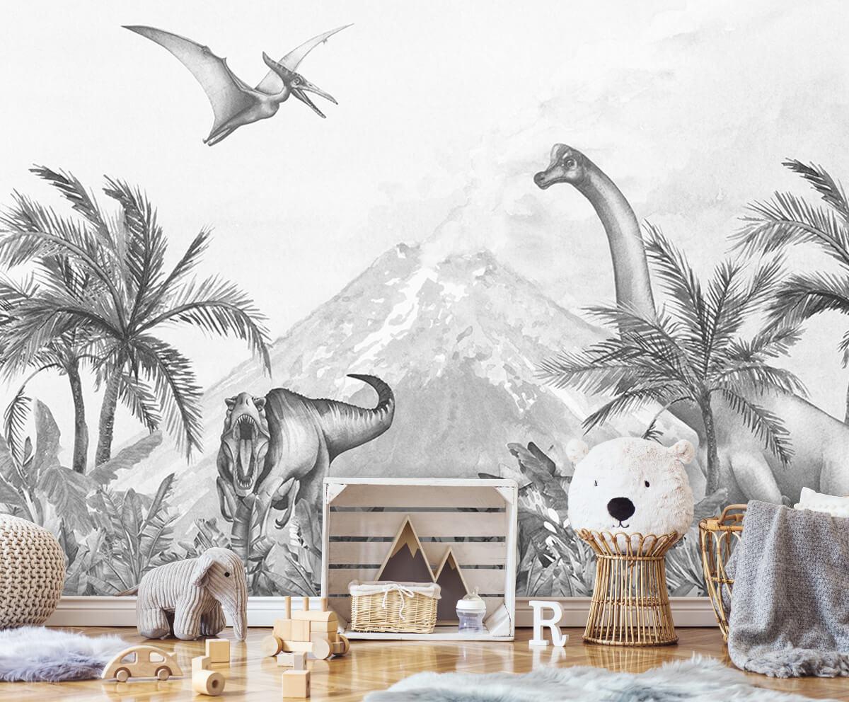 Dino behang Dino's in zwart-wit 4
