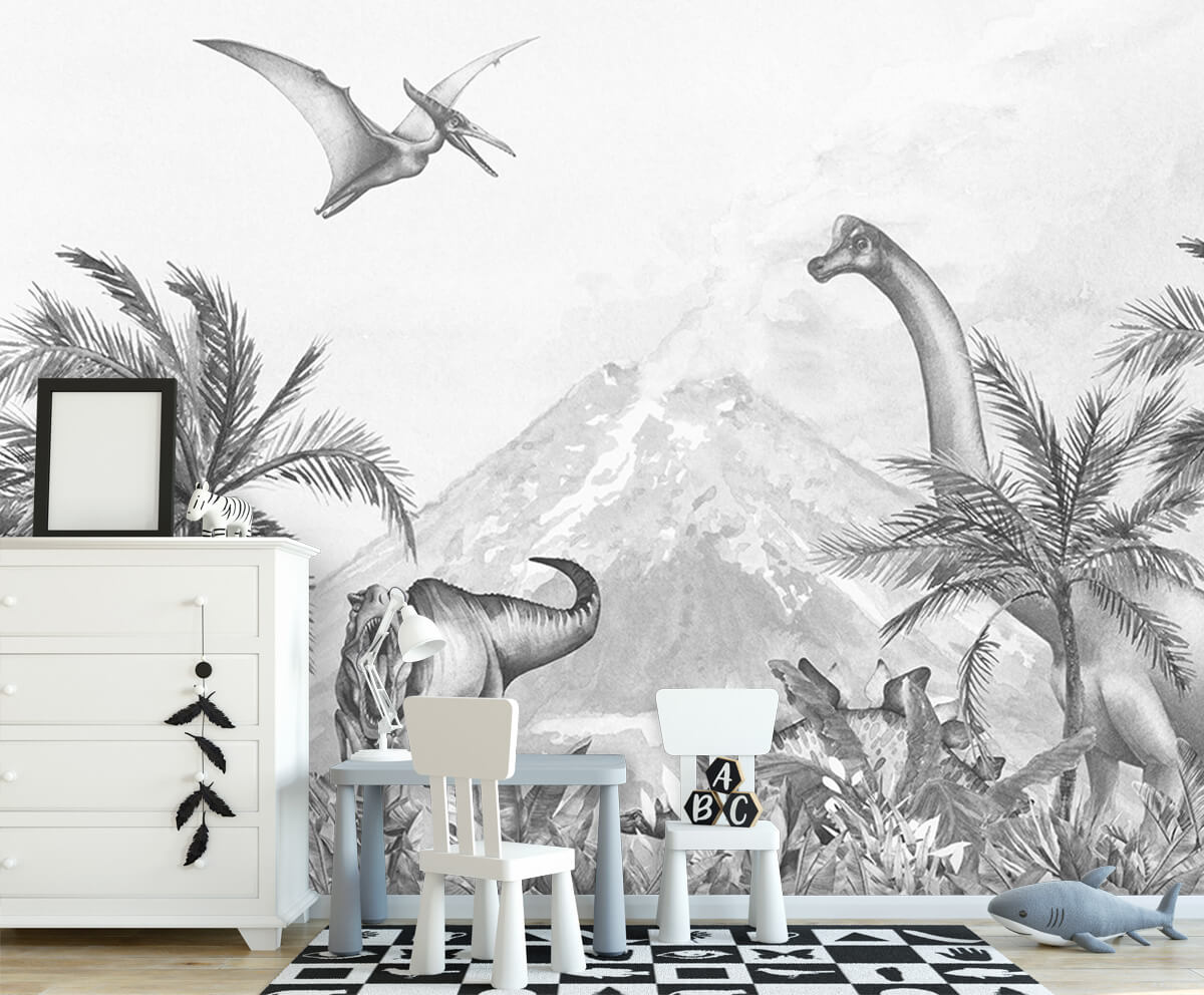 Dino behang Dino's in zwart-wit 5