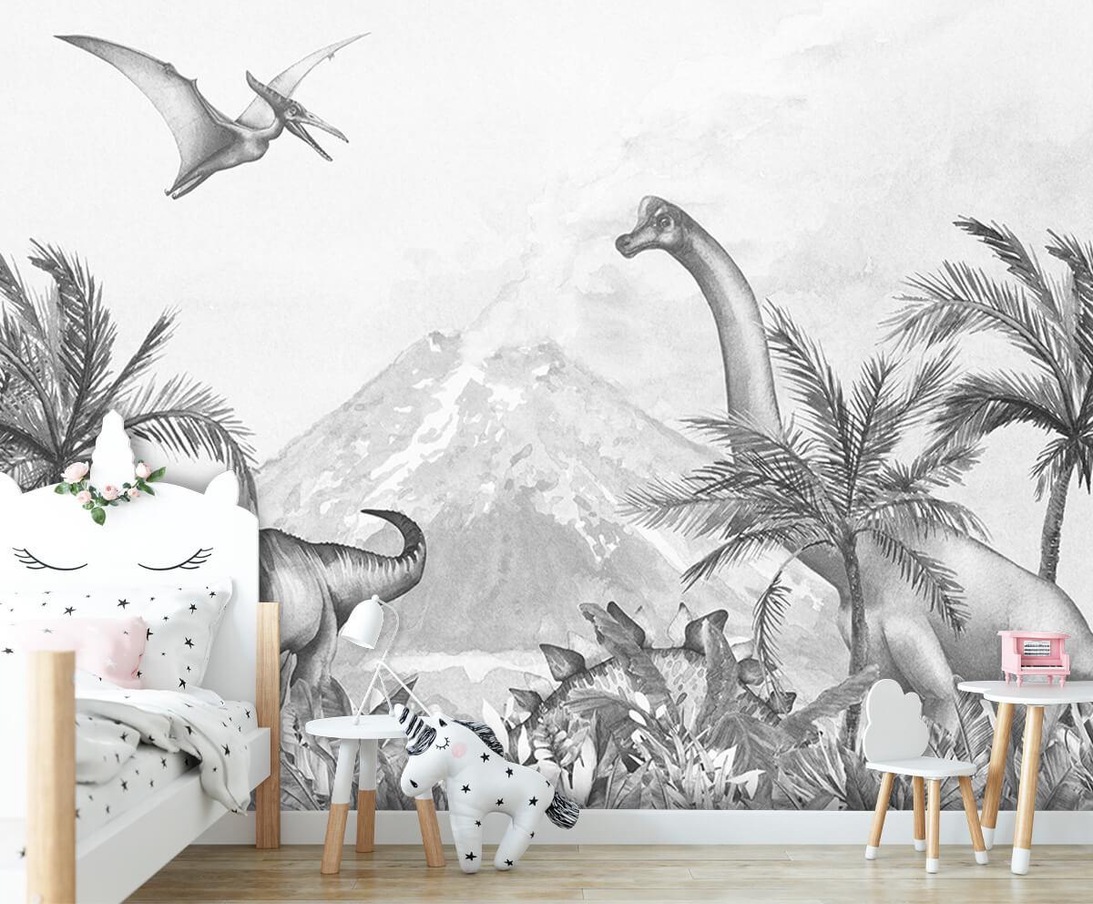Dino behang Dino's in zwart-wit 6
