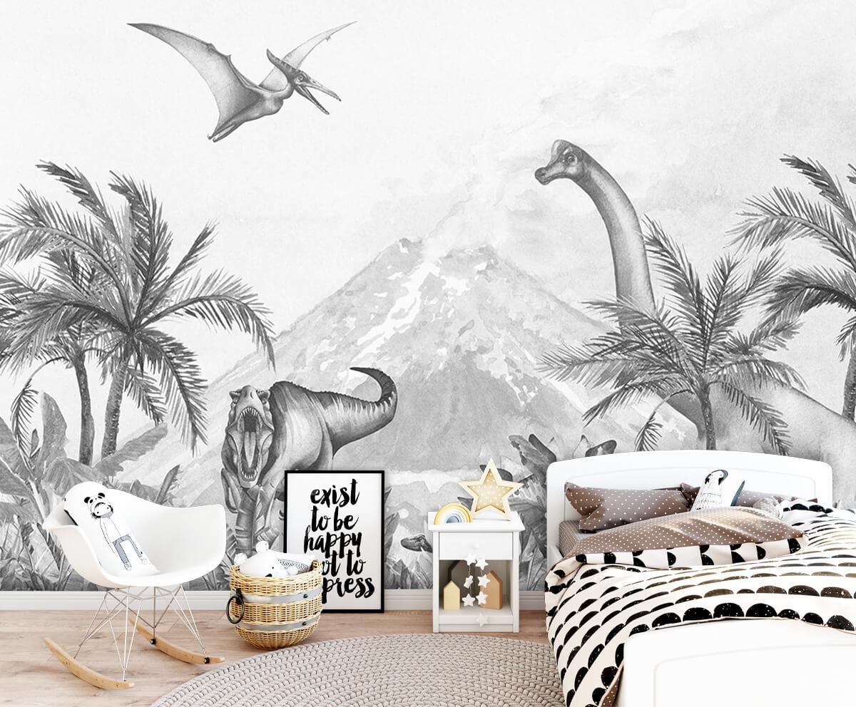 Dino behang Dino's in zwart-wit 1