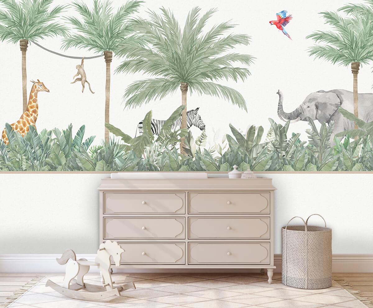 Jungle behang Dieren en palmbomen 2