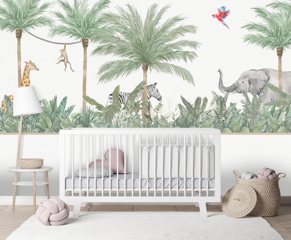Jungle behang Dieren en palmbomen 1