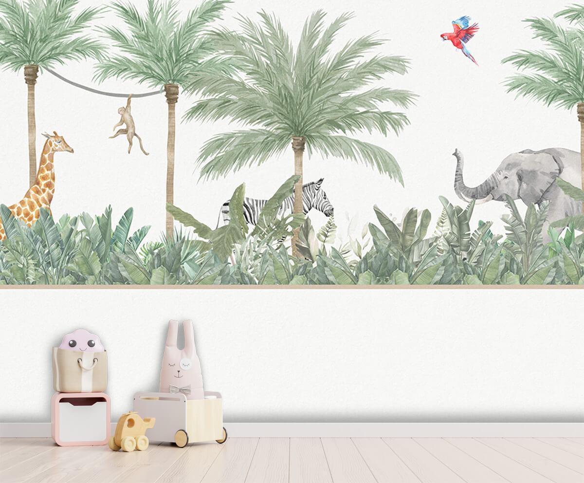 Jungle behang Dieren en palmbomen 3