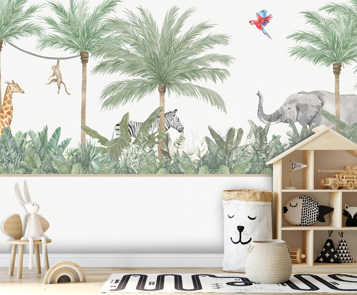 Jungle behang Dieren en palmbomen 4