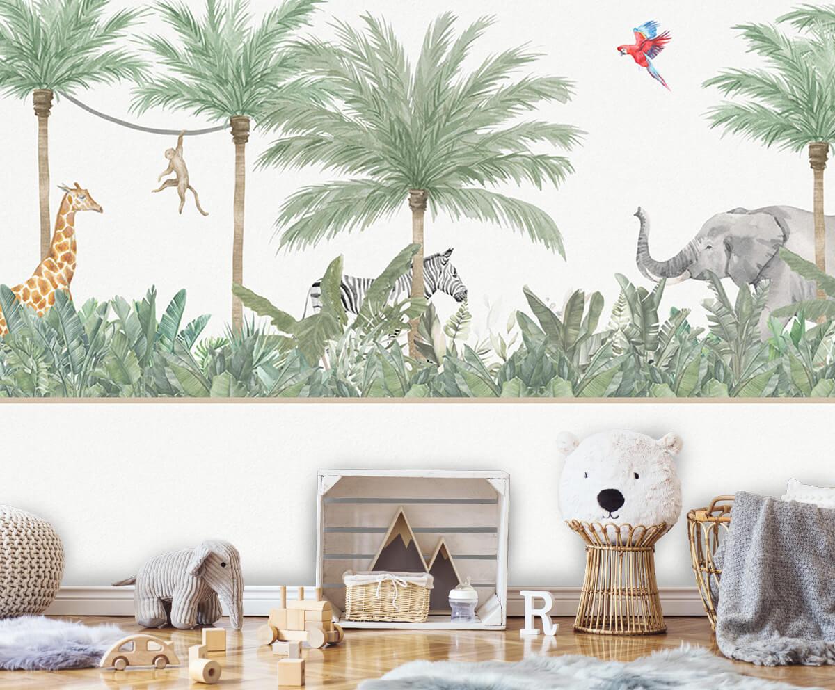 Jungle behang Dieren en palmbomen 5