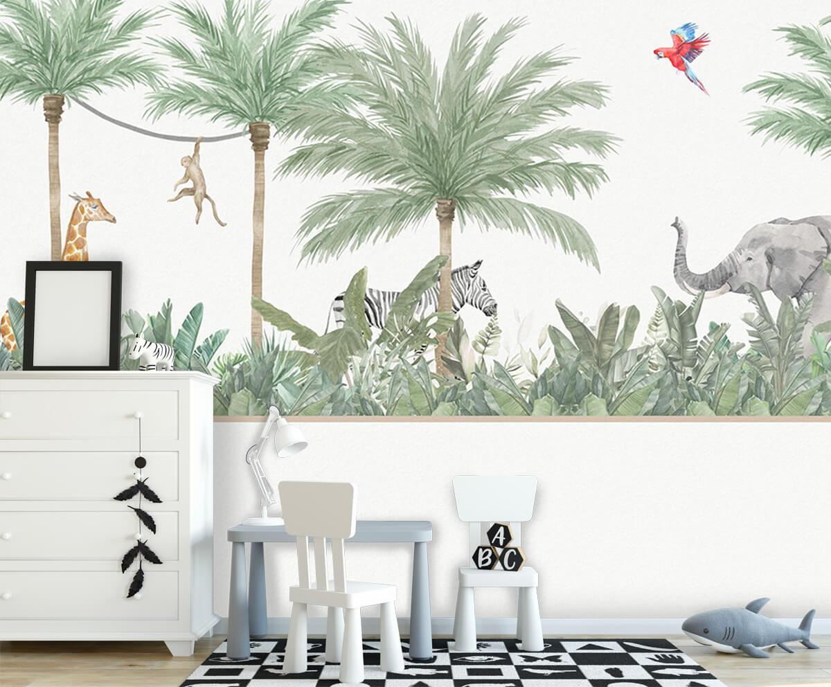 Jungle behang Dieren en palmbomen 7