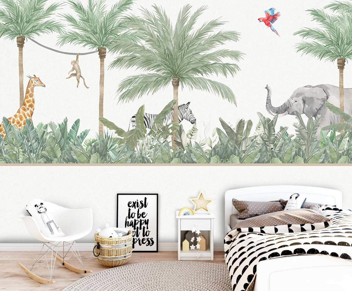 Jungle behang Dieren en palmbomen 9